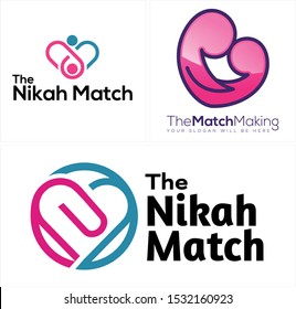 Design logo with people heart blue pink vector line art suitable for dating software searching matchmaking service