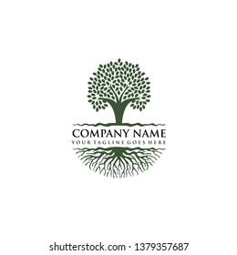 design logo pohon dan akar