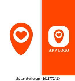 Design logo pointer love for app matchmaking vector eps 10