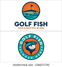 Design logo shape circle round with fish flag ball golf and star vector suitable for sport coaching label animal