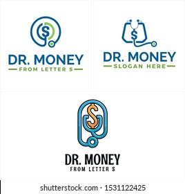Design logo with stethoscope currency dollar initial S green blue vector suitable for medical pharmaceutical money business software