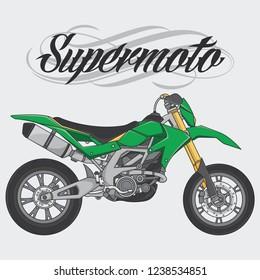 design logo supermoto rider ride a supermoto bike, vector EPS 10