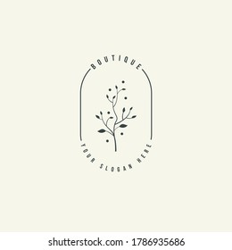Design logo symbol icon sign. Illustration vector of an organic leaf. Graphic plant element logo. Botanical nature flower logo. minimalist organic concept beautiful logo minimalist Free Vector.