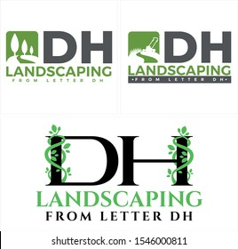 Design logo with tree grass lawn mower and letter DH leaf vector suitable for landscaping garden service business company