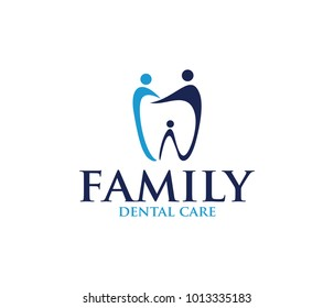 design logo vector illustration of dentistry, dental clinic, family dental health care, healthy tooth