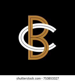 Design Logogram Letters Initial. Monogram Fancy Vintage B and C Letter for Company