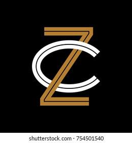 Design Logogram Letters Initial. Monogram Fancy Vintage Z and C Letter for Company