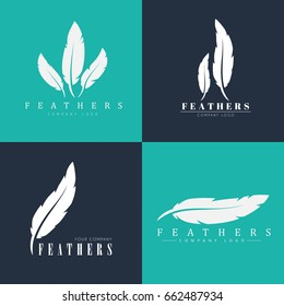 Design of logos with feathers. Templates for writers, book publishers and businesses. Vector illustration. Set