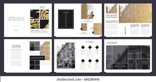 Design magazinet, cover, vector template brochures, flyers, presentations, leaflet,  a4 size. Minimalistic abstract black and gold templates - stock vector