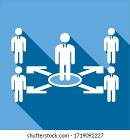 Design management chart, Management chart vector, Shows the chain of command where the boss plays an important role
