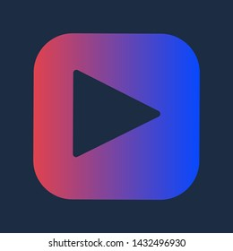 Design Media Record Player Pushbutton Play Icon. Multimedia Touch Colorful Drawn Button Element of Browser Music or Radio Site. Interface Audio Application Detail Vector Flat Symbol