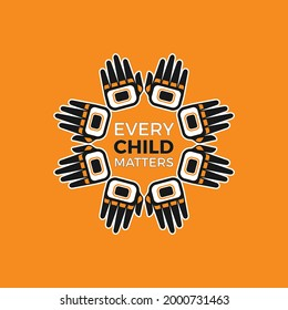 Design of Memorial in tribute to aboriginal children whose remain found in Residential School in Kamloops, Canada. Every Child Matters indigenous sign. Logo Vector Illustration.