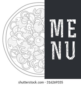 Design menu background doodle of pizza with ingredients.