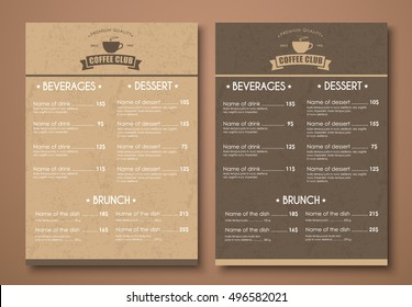 Design a menu for the cafe, a restaurant, coffee shop. Templates in retro style with an old brown cardboard texture and logo. Vector illustration. Set