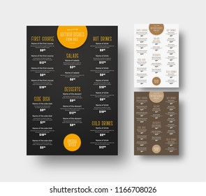 Design menu for cafes and restaurants. Patterns are black, white and brown. Vector illustration. Set