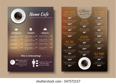 Design menus for a restaurant, cafe or coffeehouse A4. Template flyers with brown blurred background, top view of the cup, and the price tag on the dishes. Vector illustration. Set