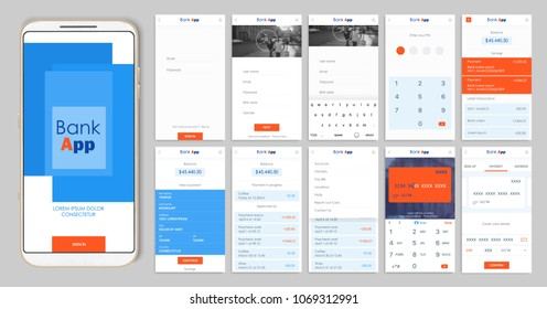 Design of the mobile app UI, UX. A set of GUI screens for mobile banking with login and password input, home page, payment information, ratings and statistics, settings, payment screens and bank cards
