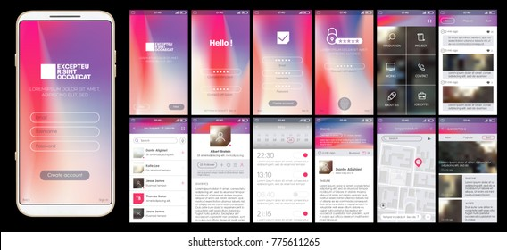 Design of mobile app, UI, UX, GUI. Set of user registration screens, account sign in, sign up, home page, news search, concept chat Messenger and settings