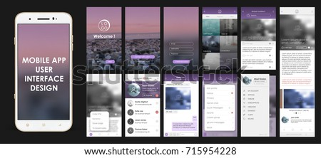 Good Design Of Mobile App, UI, UX, GUI. Set With A Welcome Window
