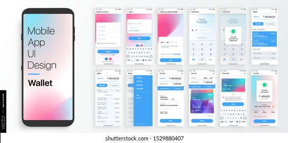 Design of a Mobile Application and Site, UI. Set of GUI Screens with Login and Password input, showing the Card, balance and payments interface. Vector Mockup