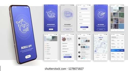 Design of the mobile application, UI, UX. A set of GUI screens with login and password input. Travel and ticketing , rating and statistics settings and payment screens.
