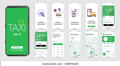 Design of the Mobile Application, UI, UX. Set of GUI Screens with Login and Password input, and screens with Taxi Orders and Car Navigation in the City