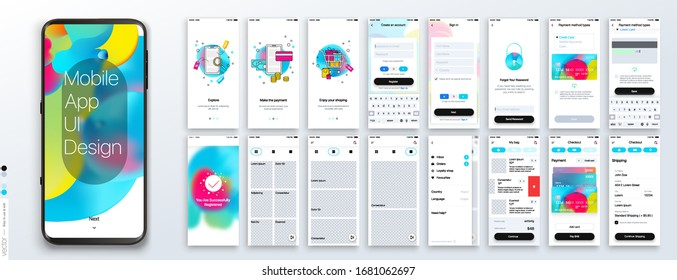 Design of the Mobile Application, UI, UX. Set of GUI Screens with Login and Password input, and screens with a choice of products, checkout, payment, delivery.