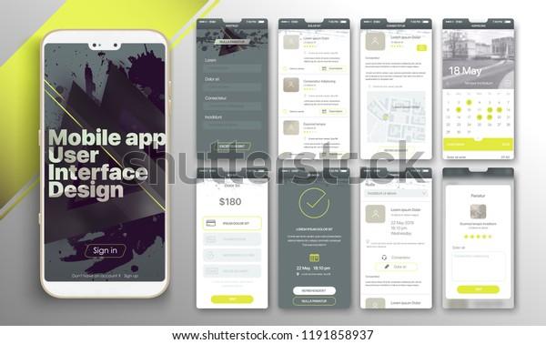 Design Mobile Application Ui Ux Set Stock Vector Royalty Free 1191858937
