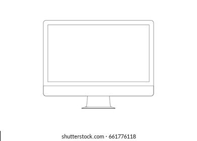 Design of modern computer iMac company Apple in linear style isolated on transparent background. With a blank screen. Outline. This templates for presenting designs. Flat vector illustration. EPS 10