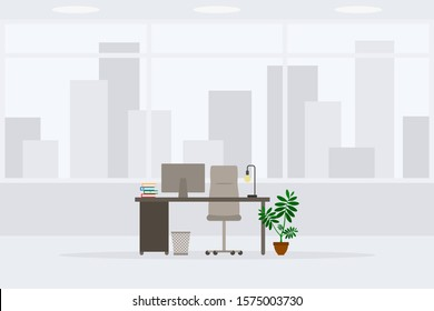 Design of modern empty office working place front view vector illustration. Table, desk, chair, computer, desktop, books, plant, lamp, trash bin isolated on cityscape