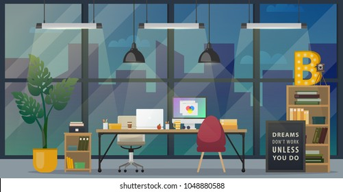 Design of modern office designer workplace. Creative office workspace with big window, desktop, modern monitor, furniture in interior. Vector illustration. Flat concept Business objects. Web banner.
