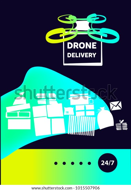 Design Modern Technology Drone Air Delivery Stock Vector