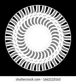 Design monochrome decorative circle element. Abstract backdrop. Vector-art illustration