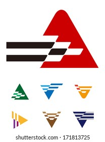 Design mountain logo element. Abstract triangle pattern. Colorful  arrow icons set. A and V icon set. You can use in the game, communications, electronics, race, or creative design concepts.