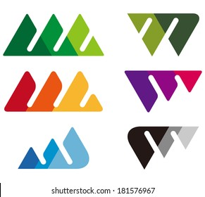 Design mountain logo element. Crushing abstract triangle pattern. Colorful icons set. A, m, w and V letter set.