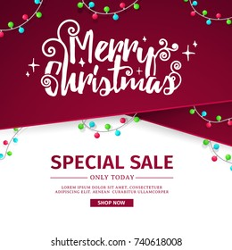 Design of a New Year banner with decoration from a red ribbon and a Christmas garland. Poster for Christmas Sale and happy holiday decoration. Vector