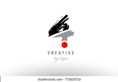 Design of number 4 with grunge style. Black grey color suitable as a logo for a company or business