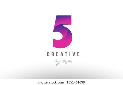 Design of number 5 five with pink gradient color suitable as a logo for a company or business