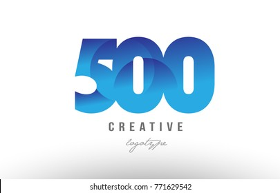 Design of number numeral digit 500 with blue gradient color suitable as a logo for a company or business