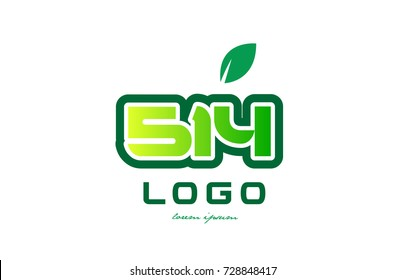 Design of number numeral  digit 514 with green leaf and color suitable for a business or company