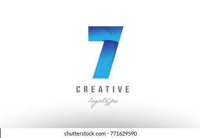 Design of number numeral digit 7 seven with blue gradient color suitable as a logo for a company or business