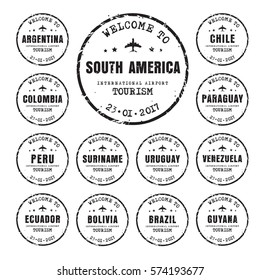 Design of old black worn stamps passport with the name of the South American countries. Templates sign for the travel and airport. Vector illustration. Set