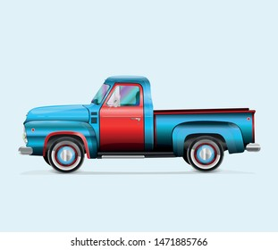 The design of the old pickup in the style of the colors of the American flag