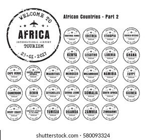 Design old worn stamps passport with the name of the African countries. Templates sign for the travel and airport. Part 2. Set