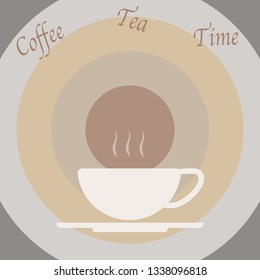 Design of one white cup of hot coffee or tea with brown background for poster, card, paper print or menu in beverage business. Vector design.