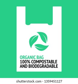 Design for organic bag. 100% biodegradable and compostable. Plastic free.