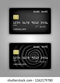 Design of the original bank card. In dark spiral color.