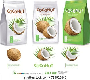 Design packaging for coconut.vector