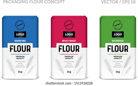 Design packaging concept for whole wheat flour, baking mix and buckwheat flour. Vector template. Premium package design. Packaging concept.