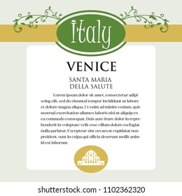 Design page or menu for Italian products. It can be a guide with information about Italian city of Venice. Ornament of Italian acanthus flowers frames the page. Series.